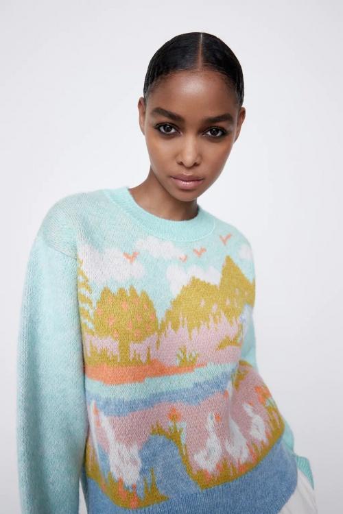 Zara - Pull en maille jacquard