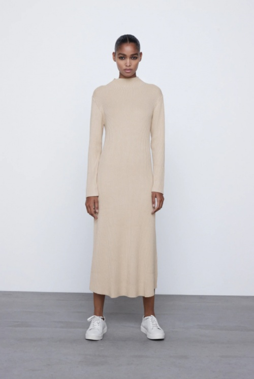 Zara - Robe en maille longue