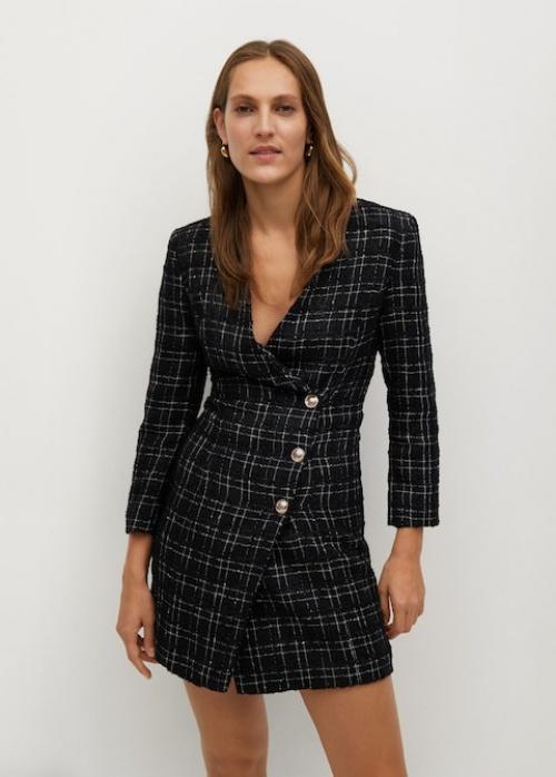 Mango - Robe carreaux tweed