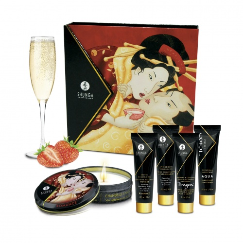 Shunga - Kit Secret de Geisha Vin Pétillant Fraise