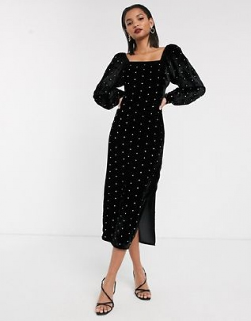 Asos DESIGN - Robe longue velours