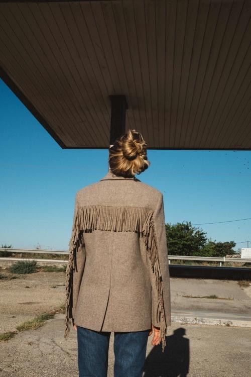 Balzac Paris - Veste à franges beige en laine