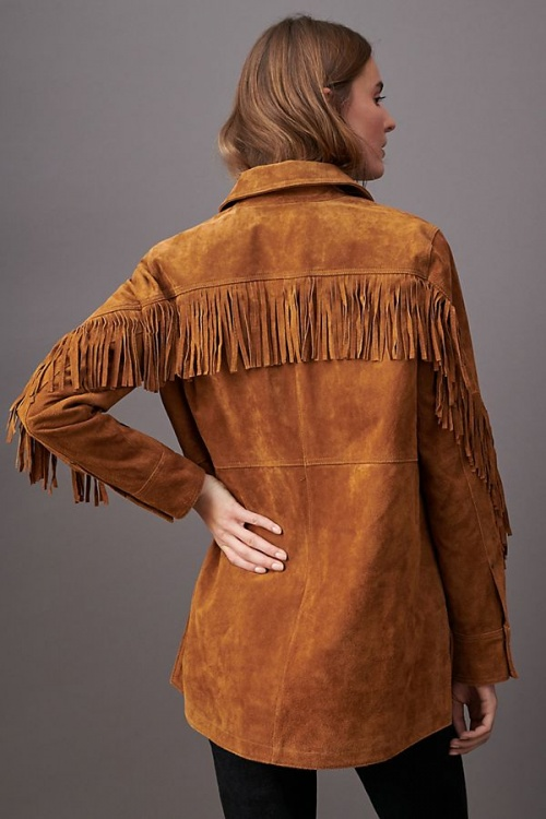 Anthropologie - Veste à franges en daim