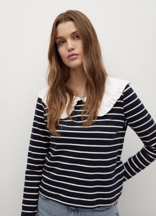 Mango - Pullover rayures col Claudine