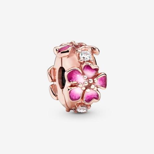 Pandora - Charm Clip Fleur de Pêcher Eclose Rose