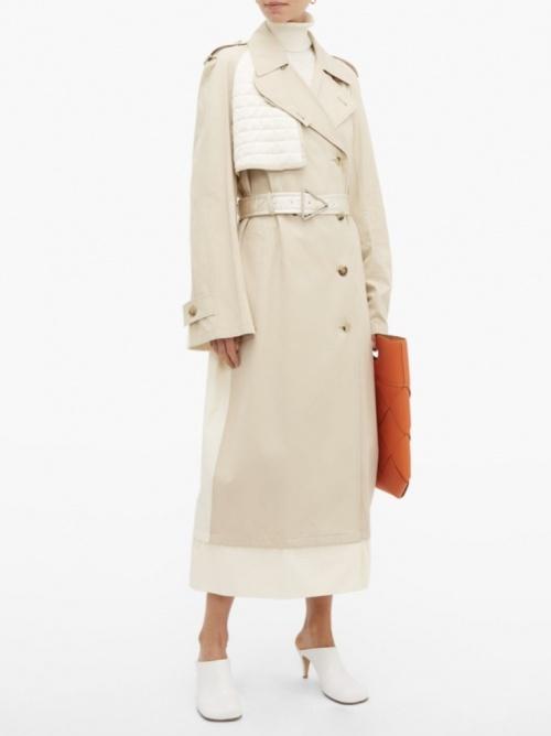 Bottega Veneta - Trench-coat ceinturé à empiècement contrastant