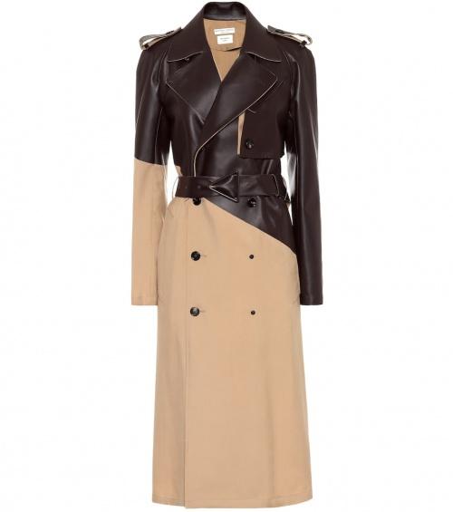 Bottega Venetta - Trench-coat en cuir et laine