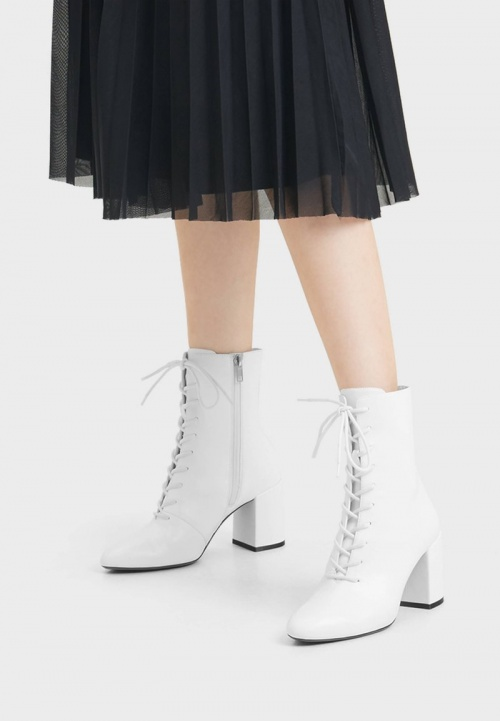 Bershka - Bottines blanches à lacet