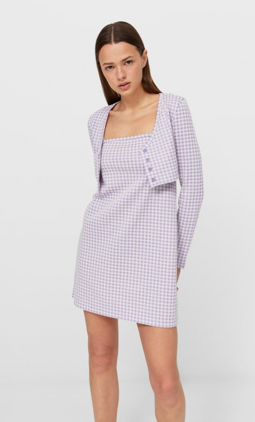 Stradivarius - Twin-set robe courte à carreaux vichy