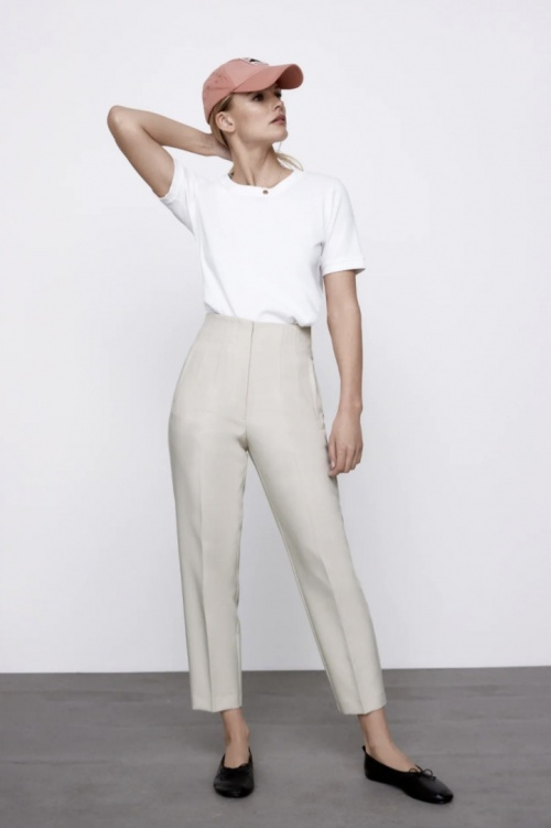 Zara - Pantalon taille haute blanc cassé