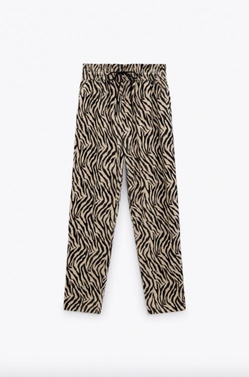 Zara - Pantalon en velours imprimé