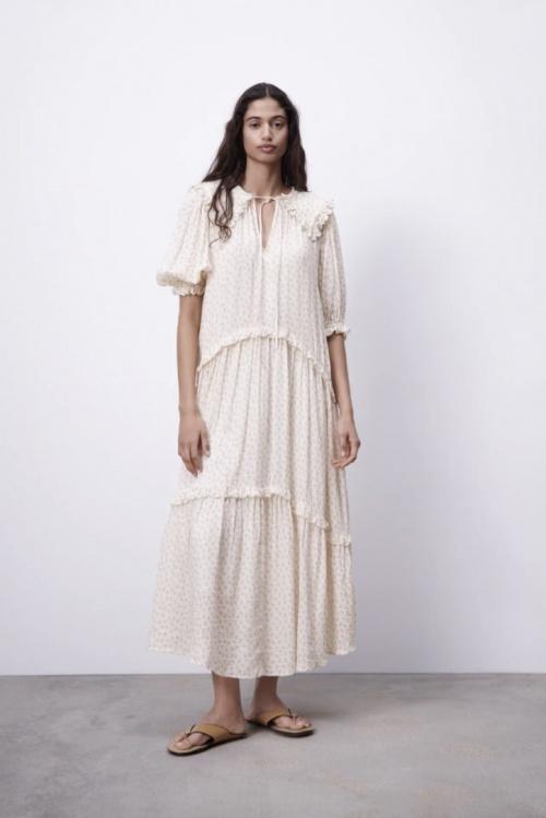 Zara - Robe longue en gaze à imprimé fleurs