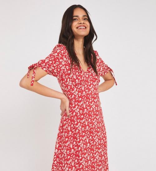 Finery - Robe rouge fleuris