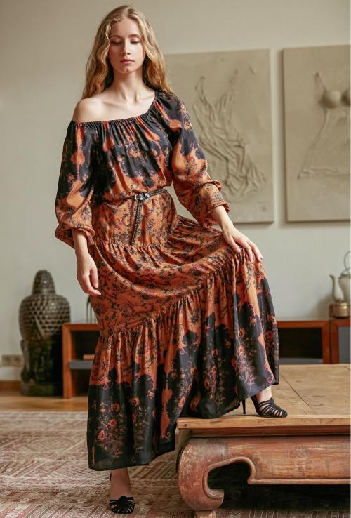 Mes Demoiselles - Robe longue en soie à motifs
