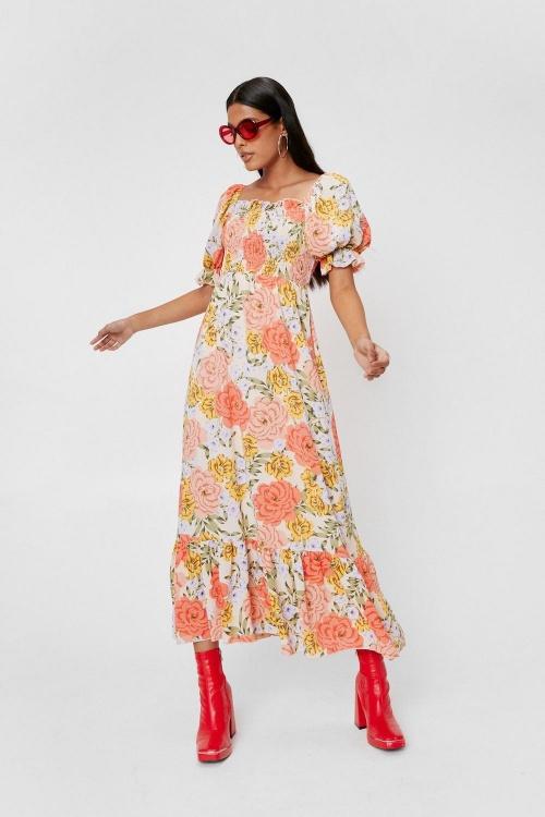 Nastygal - Robe longue volantée à manches bouffantes et imprimé fleuri rétro