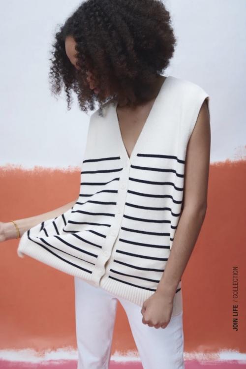 Zara - Gilet en maille rayures
