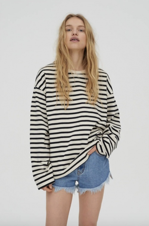 Pull and Bear - Top rayé manches longues