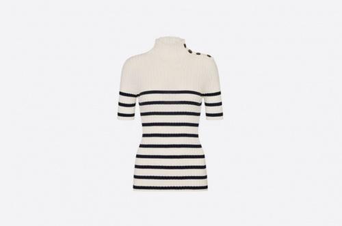 Dior - Pull manches courtes rayé