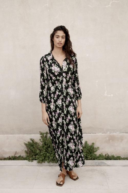 Zara - Robe longue à fleurs