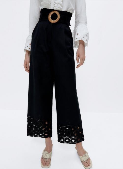Uterqüe - Pantalon brodé avec boucle