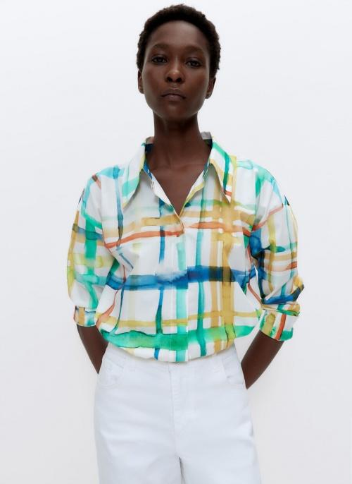 Uterqüe - Chemise à carreaux aquarelle