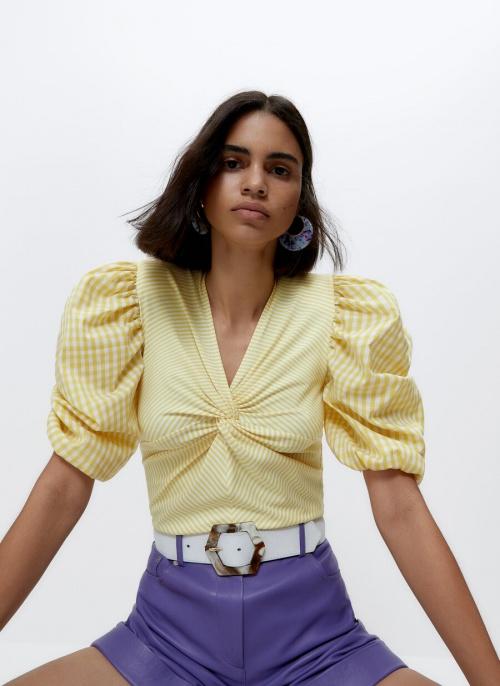 Uterqüe - Teeshirt rayures et carreaux