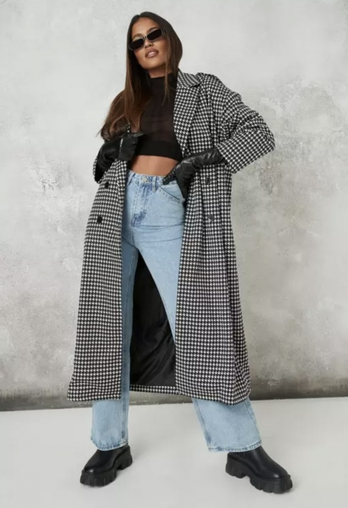 Missguided - Manteau pied-de-poule