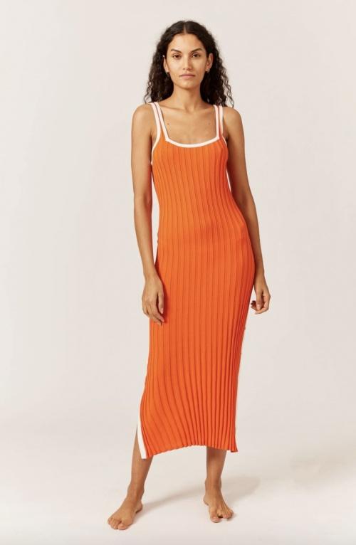 Solid & Striped - Robe mi-longue côtelée