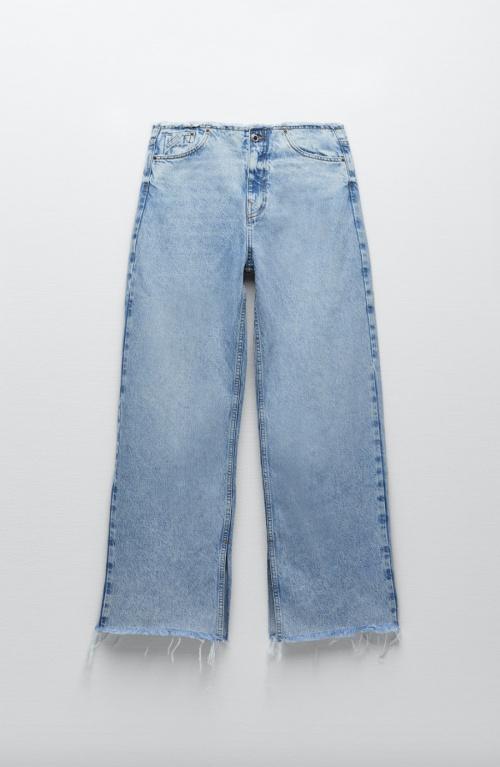 Zara - Jean Wide leg à taille effrangée
