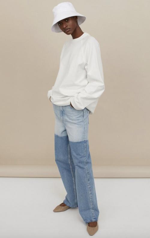 H&M - Jean droit bicolore en matières biologiques