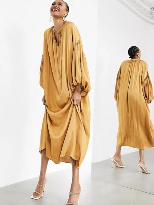Asos Edition - Robe longue à manches ballons