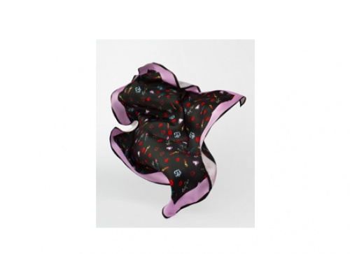 Maje - Foulard en Soie imprimé Heart And Kisses