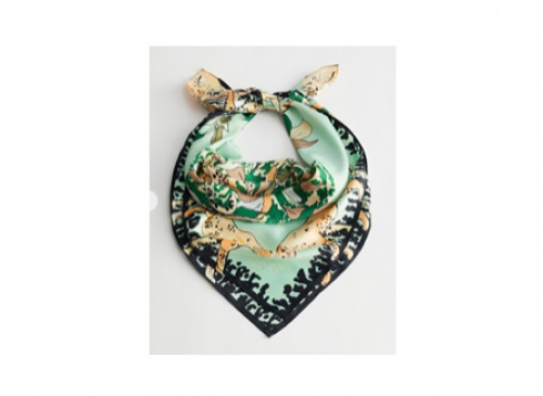 & Other Stories - Tropical Print Satin Scarf