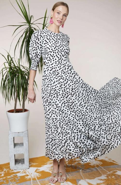 Rixo - Robe longue en coton et soie