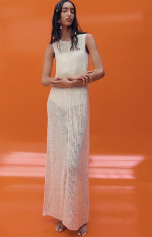 Zara - Robe longue transparente en maille