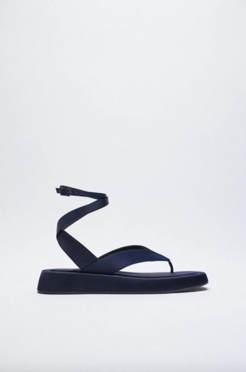 Zara - Sandales plates satinées