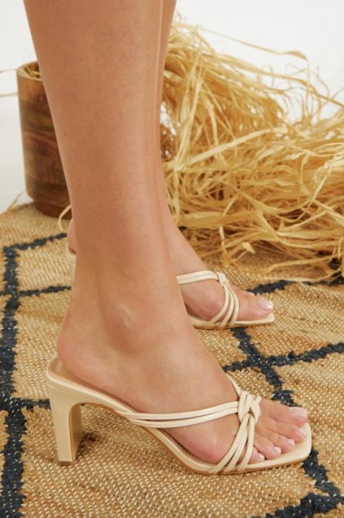 Clarosa - Mules beige à talon