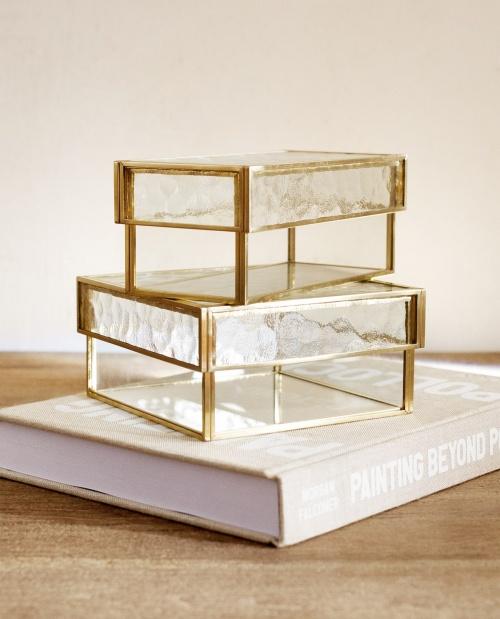 Zara Home - Boîte en verre dorée