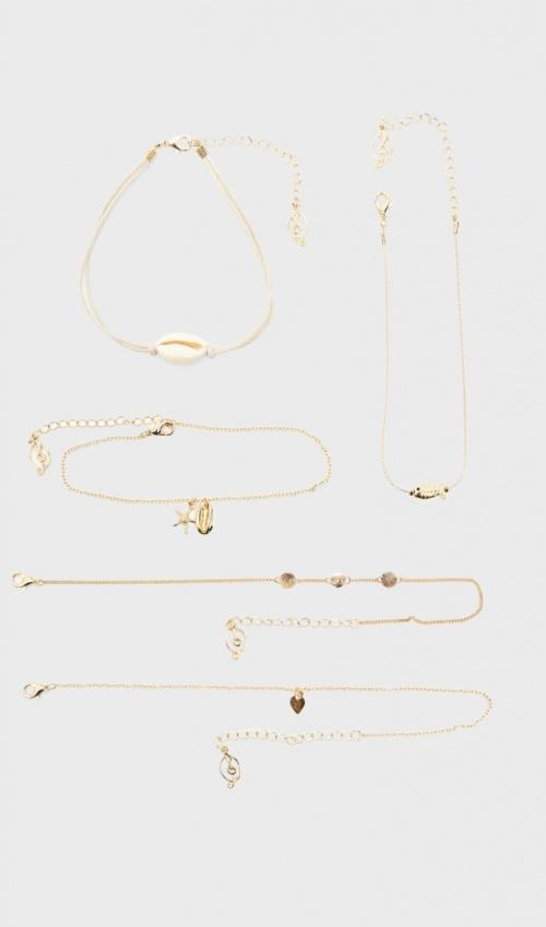 Stradivarius - Lot de cinq bracelets de cheville coquillage