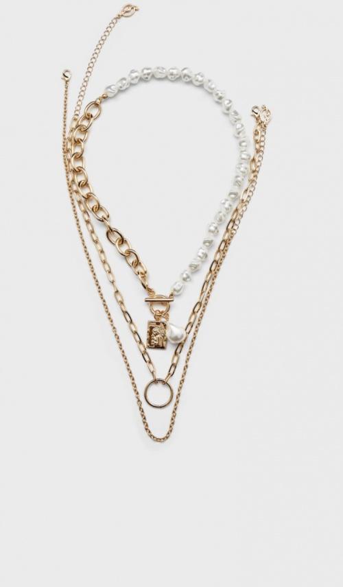 Stradivarius - Lot de trois chaînes à perles