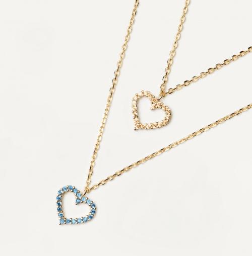 PDPAOLA - Ensemble de deux colliers plaqués or avec pendentifs coeur