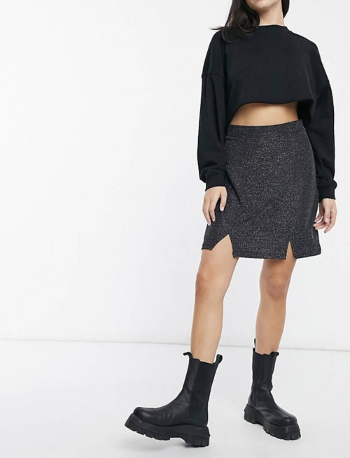 Wednesday's Girl sur Asos.com - Jupe à paillettes avec encoches