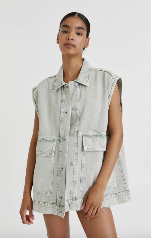 Pull & Bear - Veste en jean sans manches