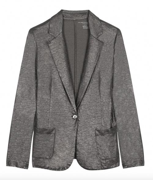 Majestic Filatures - Veste blazer en lin noir métallisé