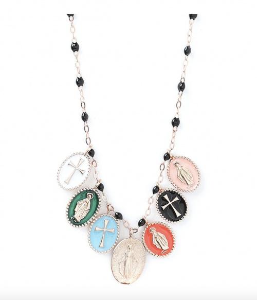 Gigi Clozeau - Collier Madone chaîne en or rose pendentifs et perles en résine