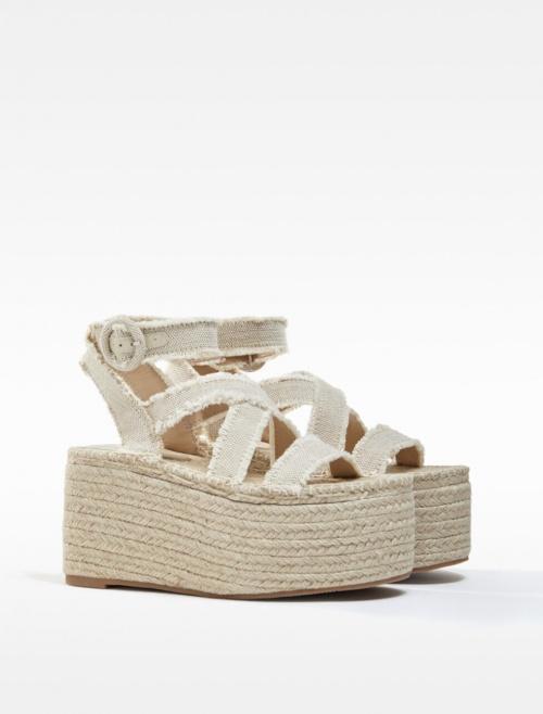 Bershka - Sandales à plateforme en jute