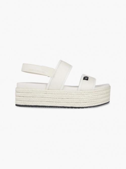 Calvin Klein - Sandales espadrilles compensées à plateforme en jute