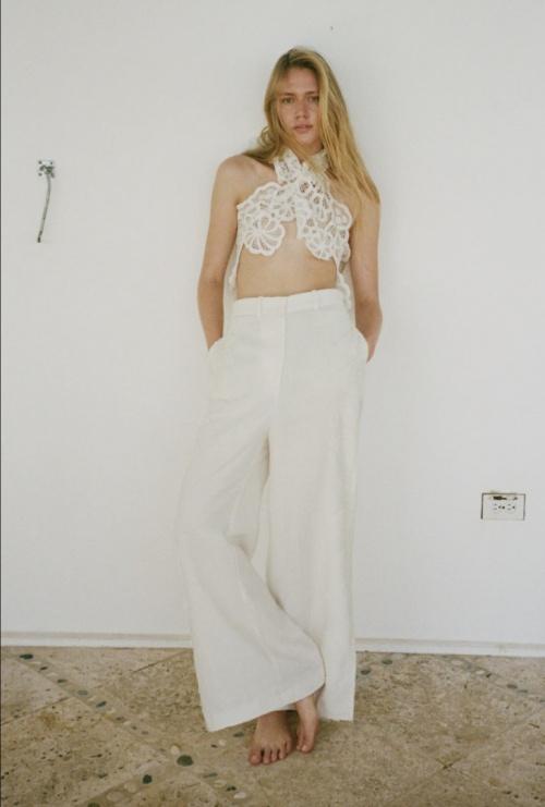 Zara - Pantalon en lin dentelle