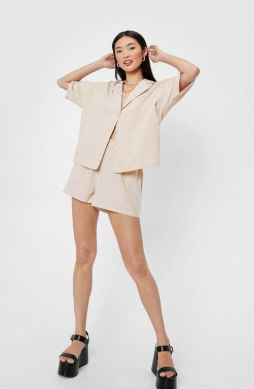 Nasty Gal - Ensemble chemise manches courtes oversize et short effet lin