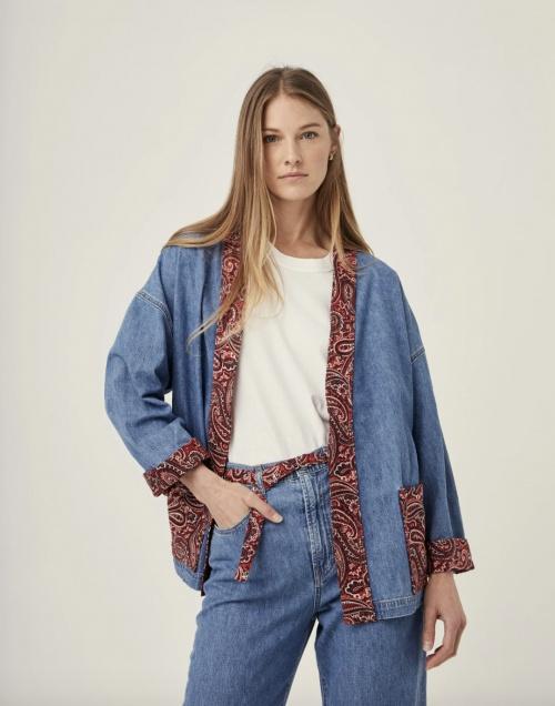 Overlover - Kimono ceinturé en jean avec col, poches et poignets imprimé bandana